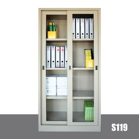 EG S119- FULL HEIGHT CUPBOARD with GLASS SLIDING DOORS C/W ADJ SHELVES