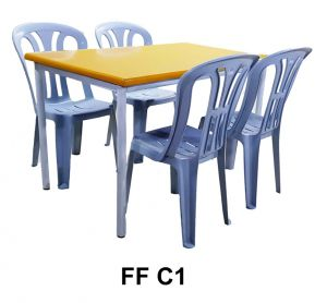 Set FF C1 - 1 Cafe Table + 4 Plastic Chair