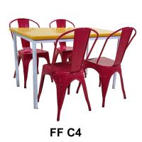 Set FF C4 - 1 Cafe Table + 4 Tolix Chair