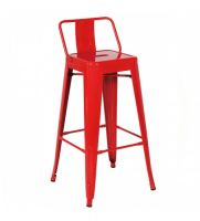 OC 107B - Tolix Metal Chair Bar Stool w. Backrest